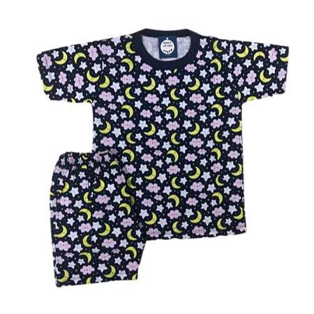 Pijama Infantil 100% Algodão Maga Curta CÉU