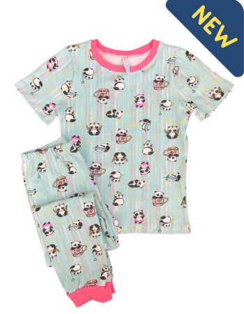 Pijama Infantil SLIM PANDAS VERDE ÁGUA Manga Curta