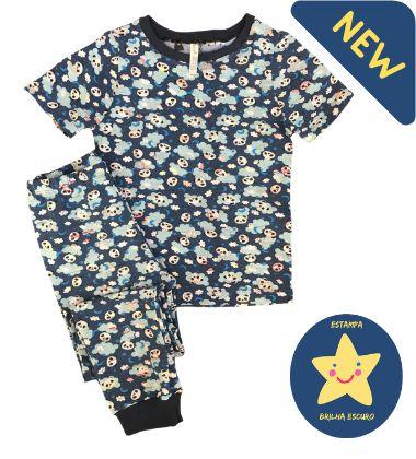 Pijama Infantil SLIM NUVENS PANDA MARINHO