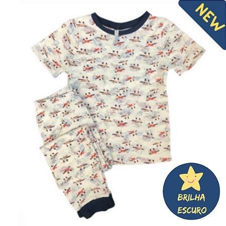 Pijama Infantil SLIM BRILHA ESCURO AVIÕES