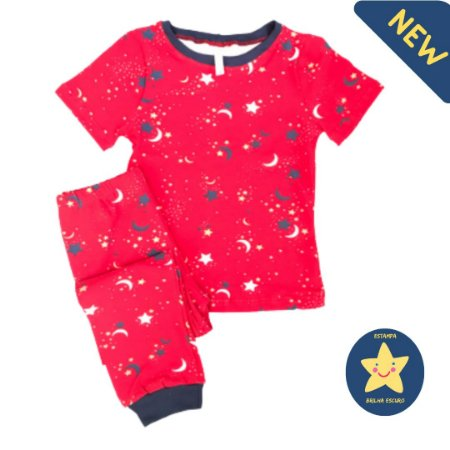 Pijama Infantil SLIM BRILHA ESCURO VERMELHO MANGA CURTA