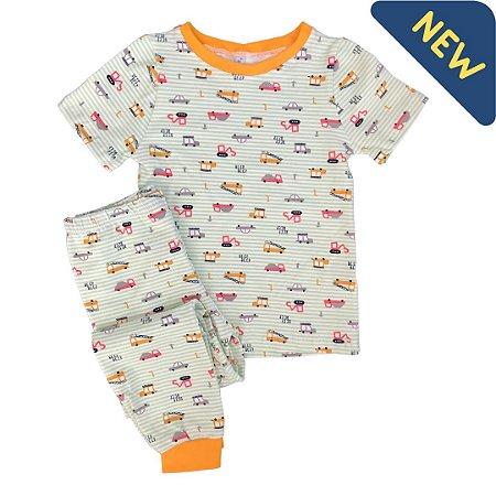 Pijama Infantil SLIM TRUCKS VERDE ÁGUA