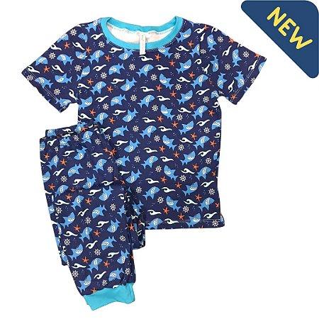 Pijama Infantil SLIM SHARK FUNDO MAR MARINHO