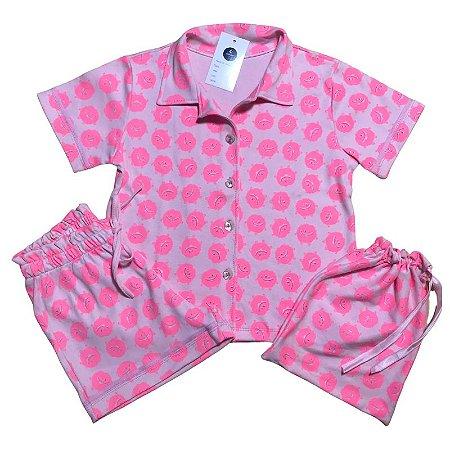 Pijama Camisa Mamãe MONSTRINHOS ROSA