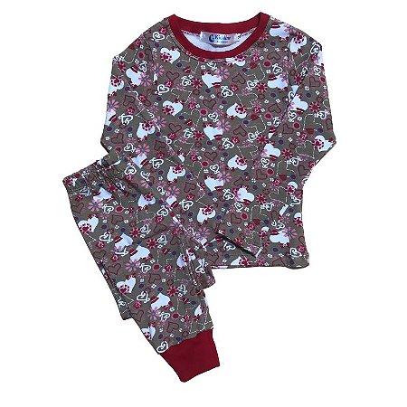 Pijama Infantil Manga Longa SLIM CORAÇÕES RED