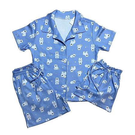 Pijama Camisa Mamãe PANDAS BLUE