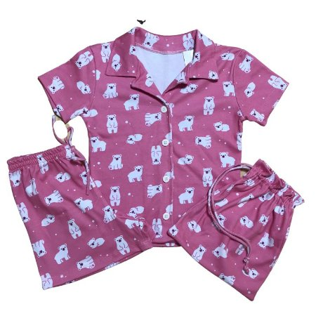 Pijama Camisa Infantil PANDAS ROSA