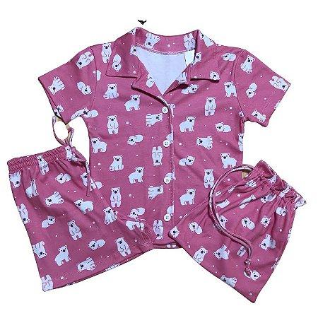 Pijama Camisa Mamãe PANDAS ROSA