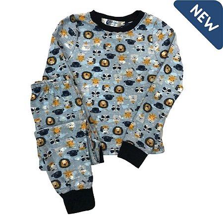 Pijama Infantil SLIM LEÕES AZUL