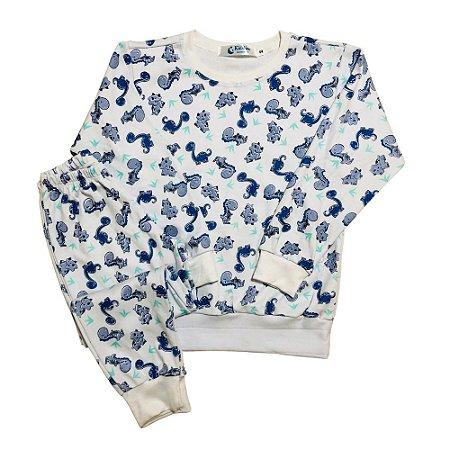 Pijama 100% Algodão PUNHO DINOS BLUE