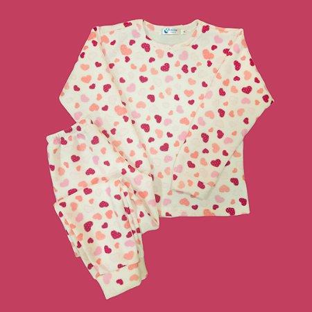 Pijama Infantil Soft Punho CORAÇÕES