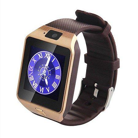 Relógio inteligente Smartwatch DZ09 Marrom Touch