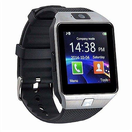 Relógio Smartwatch inteligente DZ09 Prata Touch