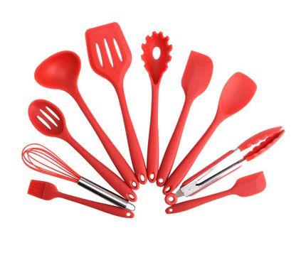 Kit 10 Utensílios Cozinha com Colheres De Silicone
