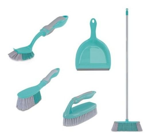 Kit Limpeza Vassoura, Pé, Escova Limpeza Multiuso 5 Peças