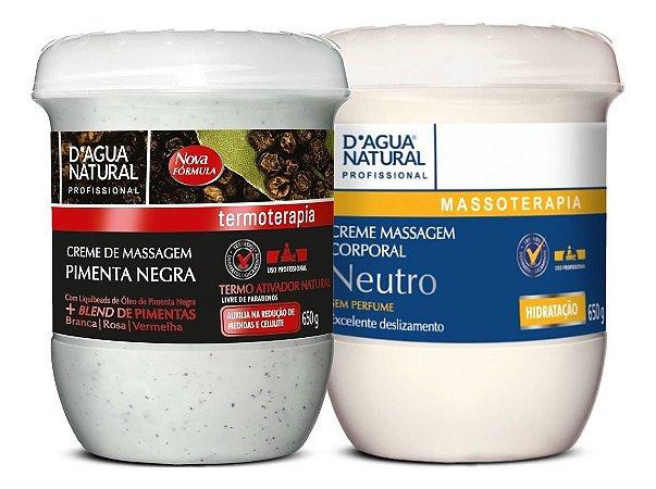Creme Pimenta Negra 650g + Creme Neutro 650g Dagua Natural