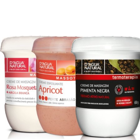 Creme Pimenta Negra + Esfoliante 650g+ Creme Rosa Mosqueta