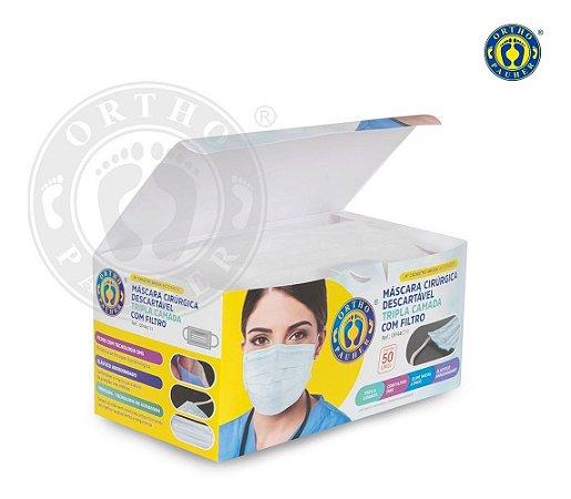 Mascara Cirurgica Tripla Camanda C/50 Clip Nasal E Anvisa