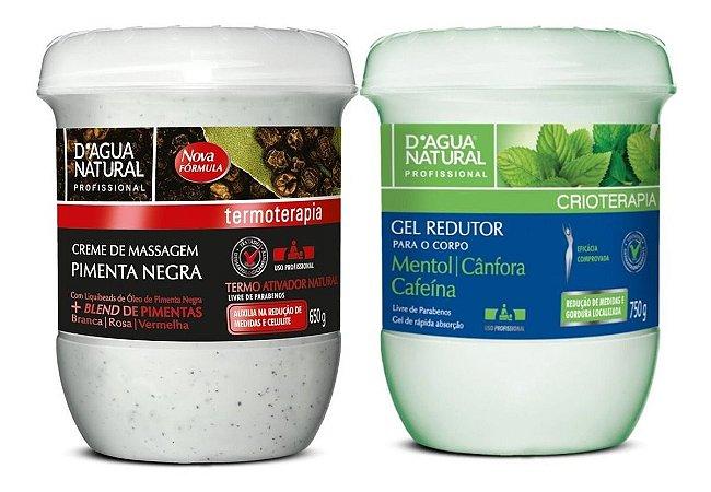 Creme Pimenta Negra 650g + Gel Redutor Cafeina Dagua Natural