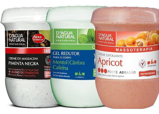 Creme Pimenta Negra 650g + Gel Redutor + Esfoliante 650g