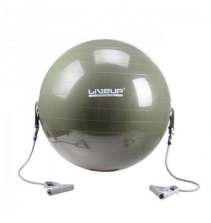 Bola Pilates C/ Extensores 65 cm Pilates Alongamento LiveUp
