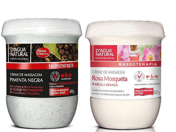 Creme De Pimenta Negra 650g + Creme Rosa Mosqueta Com Argila 650g D'agua Natural