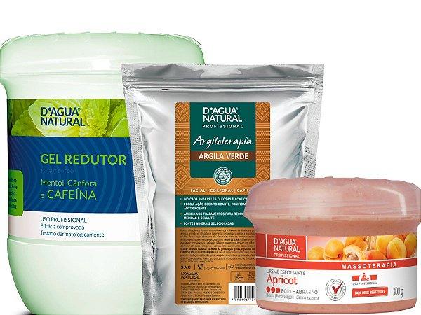 Gel Redutor 750g + Argila Verde 500g + Esfoliante Forte 300g D Agua Natural