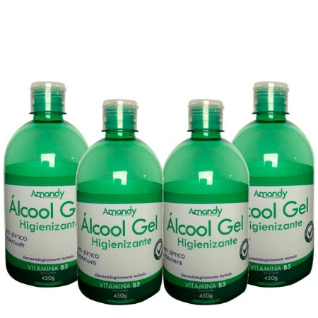 Kit 4 Álcool em Gel Anti-Séptico com Hidratante e Vitamina B5