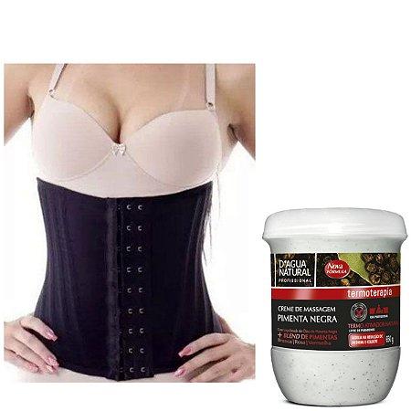 Cinta Modeladora 16Barbatanas + Creme Pimenta Negra 650grs D Agua Natural