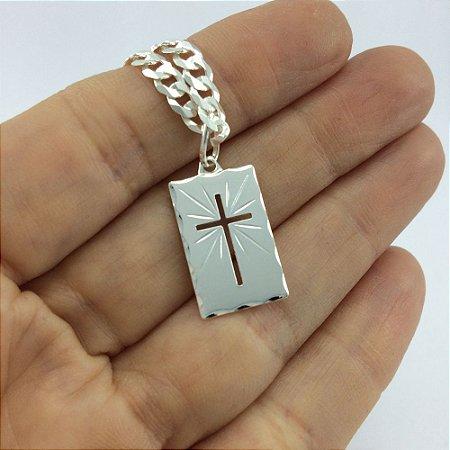 pingente cruz plaquinha 107 - 2,80cm x 1,20cm