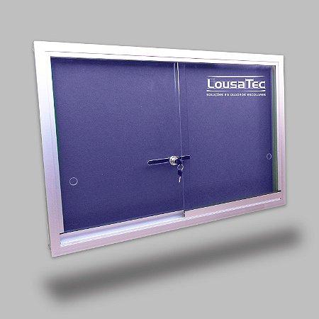 Quadro Edital de Aviso com Vidro de Correr - Feltro Azul