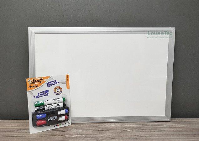 Kit Quadrinho Branco Liso com Moldura de Alumínio - Canetas e Apagador