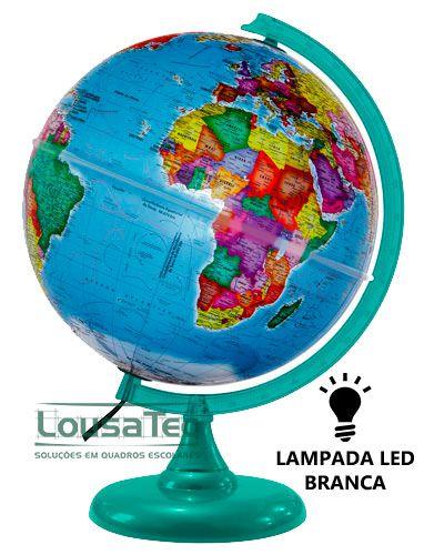 Globo Politico Prisma 30cm - com LED Branco - Base Verde