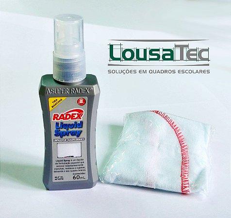 Limpador p/ Quadro Branco Spray 60ml + Flanela - Radex