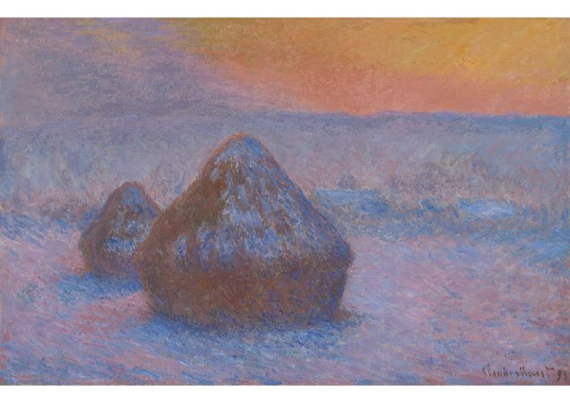 Quadro Decorativo Claude Monet Stacks of Wheat (Sunset, Snow Effect) - PT0002