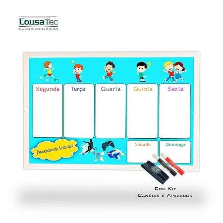 Quadro de Planejamento Semanal Infantil - Meninos - Moldura Alumínio Epoxi Branco com 2 Canetas e Apagador