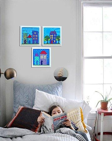 conjunto 3 quadros casinhas com moldura 25x25 cm