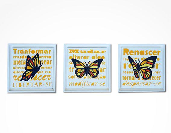 Conjunto 3 quadros borboleta com moldura 25x25cm