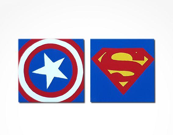 Conjunto 2 quadros super heróis 20x20 cm