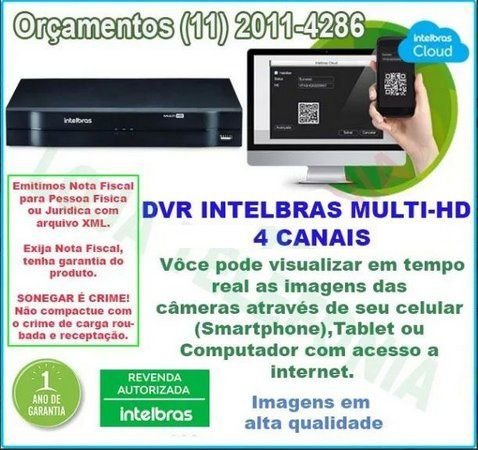 Gravador Digital De Vídeo DVR 4 canais Intelbras