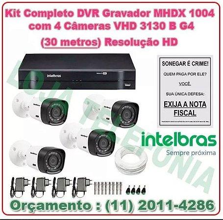 Kit Câmeras de Segurança Intelbras + Dvr Mhdx 1004 + 4 Câmeras Vhd 3130