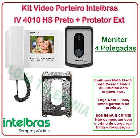 Kit Vídeo Porteiro Intelbras IV 4010 HS + Protetor Externo