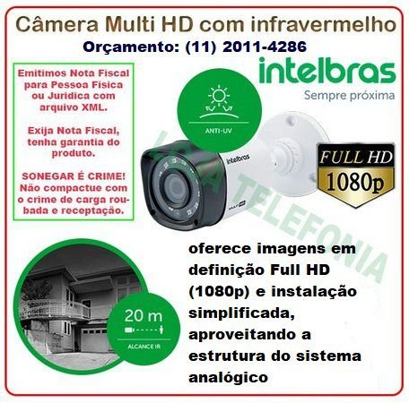Câmera de Segurança Intelbras Full HD 20 metros