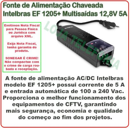 Fonte de Alimentação CFTV EF 1205+ Intelbras 12,8 Vdc 5A