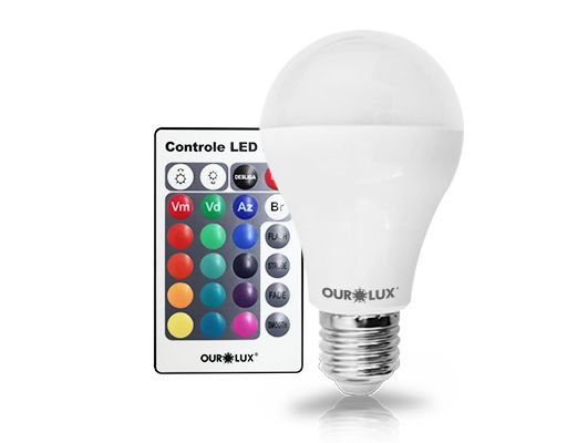 Lâmpada Bulbo LED Ourolux Bivolt 5W RGB
