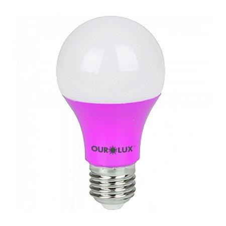 Lâmpada Bulbo LED Ourolux Bivolt 7W Rosa