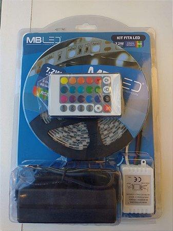 Kit Fita de LED 7,2W 5050 RGB com Fonte 12V e Controle MBLed