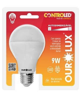 Lâmpada Bulbo LED Ourolux Autodimerizável Bivolt 9W 2700K (Luz Quente)