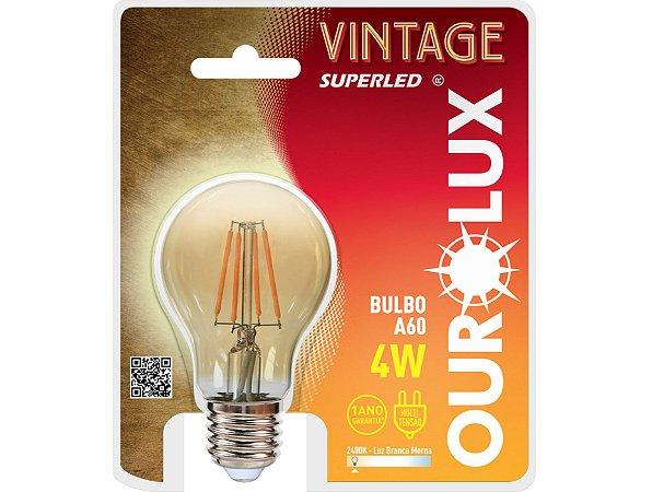 Lâmpada Bulbo LED Vintage Ourolux 4W 2400K (Luz Quente)