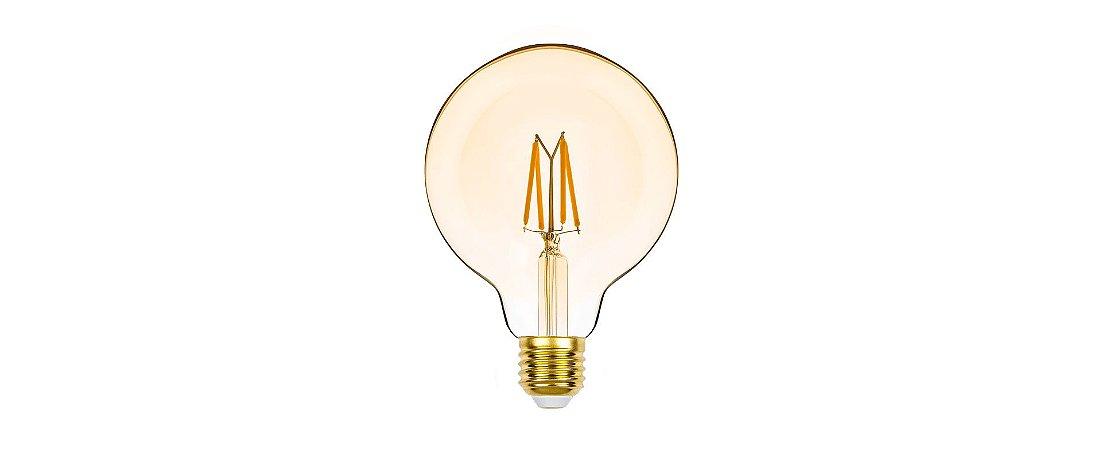 Lâmpada G95 LED Vintage Dimerizável Stella 4,5W 2400K (Luz Âmbar)
